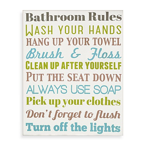 Bathroom rules wall art bed bath beyond for Bathroom decor rules