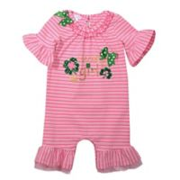 Bonnie Baby Size 18M Lucky Girl Striped Romper in Pink