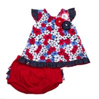 Size 18M 2-Piece Floral Tunic and Diaper Cover Set in Red