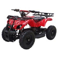 MotoTec 24-Volt Mini Quad V4 Battery-Powered Ride-On in Red