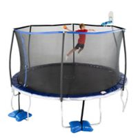 TruJump 14-Foot Trampoline with Enclosure and AirDunk Basketball System in Blue
