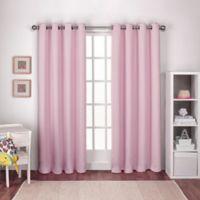 Textured Woven Grommet Top Room Darkening Window Curtain Panel Pair