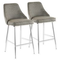 LumiSource Marcel Bar Stools in Chrome/Grey (Set of 2)