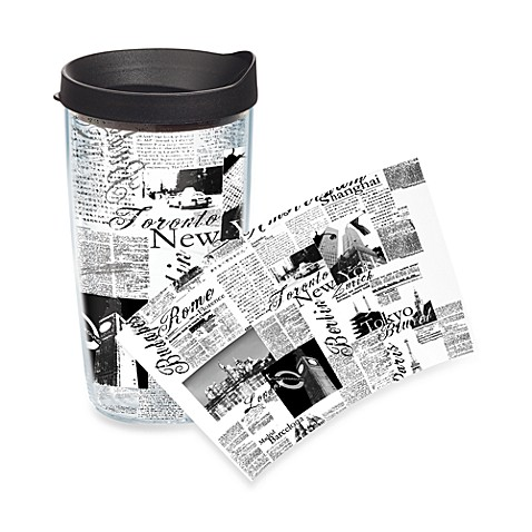 Tervis® Black & White Passport Wrap Tumbler with Black Lid - 16-Ounce