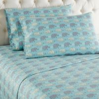 Micro Flannel® Elephants Twin Sheet Set in Blue