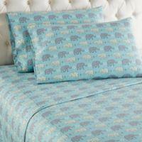 Micro Flannel® Elephants Queen Sheet Set in Blue