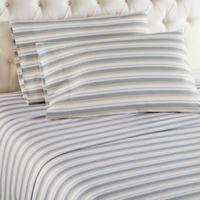 Micro Flannel® Metro Stripe Queen Sheet Set in Grey