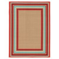 "Destination Summer Miami Border 6'7"" X 9'6"" Woven Area Rug in Beige/multi"