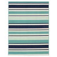 Miami Aqua Stripe 8' x 10' Indoor/Outdoor Area Rug