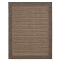 "Destination Summer Miami Mocha Border 6'6"" X 9'6"" Woven Area Rug in Mocha"