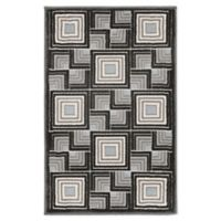 """Liora Manne Boxes 2'1"""" X 2'11"""" Woven Area Rug in Charcoal"""
