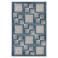 """Liora Manne Boxes 2'1"""" X 2'11"""" Woven Area Rug in Aqua"""