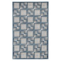 "Liora Manne Boxes 3'3"" X 4'11"" Woven Area Rug in Aqua"