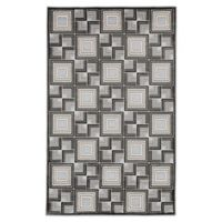 "Liora Manne Boxes 7'10"" X 9'10"" Woven Area Rug in Charcoal"
