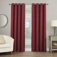 Rings Circle Embroidered 95-Inch Grommet Blackout Window Curtain Panel in Berry