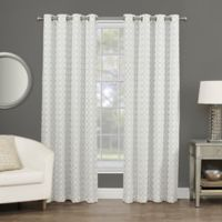 Rings Circle Embroidered 84-Inch Grommet Blackout Window Curtain Panel in White