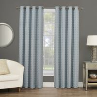 Rings Circle Embroidered 84-Inch Grommet Blackout Window Curtain Panel in Sterling Blue