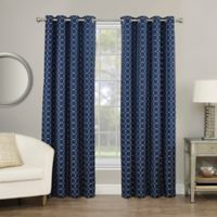 Rings Circle Embroidered 108-Inch Grommet Blackout Window Curtain Panel in Indigo