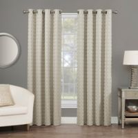 Rings Circle Embroidered 84-Inch Grommet Blackout Window Curtain Panel in Linen