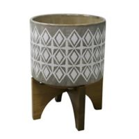 Sagebrook Home Outdoor Citronella Candle in Ceramic Vase with Base in Grey