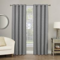 Rings Circle Embroidered 63-Inch Grommet Blackout Window Curtain Panel in Pewter