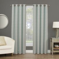 Rings Circle Embroidered 63-Inch Grommet Blackout Window Curtain Panel in Sea Glass