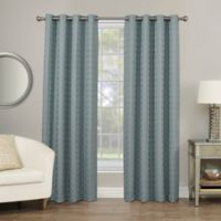 Rings Circle Embroidered 84-Inch Grommet Blackout Window Curtain Panel in Slate Blue
