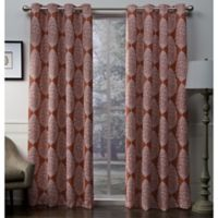 Queensland 96-Inch Grommet Top Room Darkening Window Curtain Panel Pair in Orange