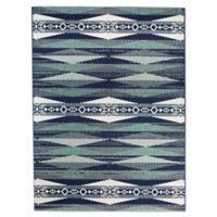 Destination Summer Miami Aztec Indoor/Outdoor 5'3 x 7' Area Rug in Blue