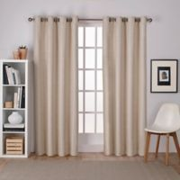 Raw Silk Grommet Top Room Darkening Window Curtain Panel Pair