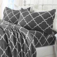 Great Bay Home Lattice Fleece Twin Sheet Set in Charcoal Grey