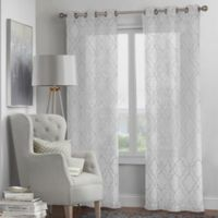 Fremont 4-Pack 63-Inch Grommet Window Curtain Panel Set in White/Grey