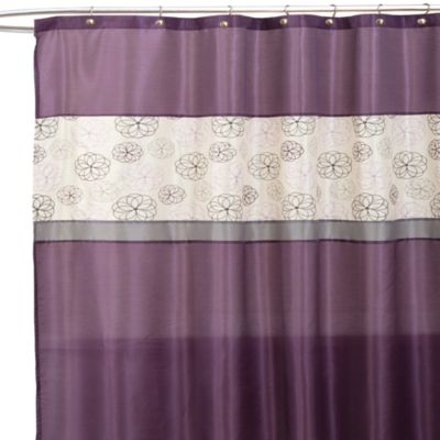 Covina Purple And Ivory 72 Inch X 72 Inch Shower Curtain  Purple And Grey Shower Curtain