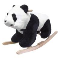 Happy Trails Plush Rocking Panda Bear Ride-On in Black/White