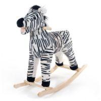 Happy Trails Plush Rocking Zebra Ride-On in Black/White