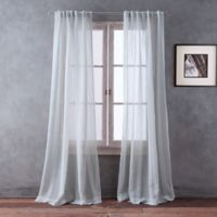 Del Mar Striped 95-Inch Sheer Rod Pocket/Back Tab Window Curtain Panel in Grey