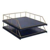 Kate and Laurel® Benbrook 2-Piece Stacked Letter Tray Set in Navy/Blue