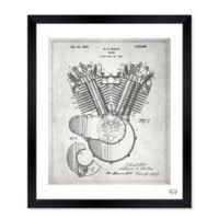 Oliver Gal™ Harley Engine 1923 Blueprint 28-Inch x 34-Inch Framed Wall Art