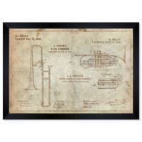 Oliver Gal™ Wind Musical Instrument Parchment Blueprint 26-Inch x 32-Inch Framed Wall Art