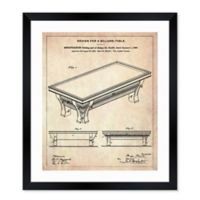 Oliver Gal™ Billiards Blueprint 26-Inch x 32-Inch Framed Wall Art