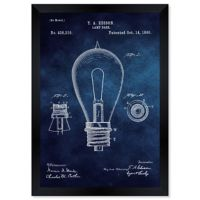 Oliver Gal™ Edison Lamp Base 1890 Blue Paper Framed Wall Art in Blue