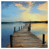 Sunset Pier 35-Inch Square Wrapped Canvas Wall Art