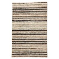 Jaipur Ticking Stripe 5' x 8' Hand-Knotted Area Rug in Light Blue