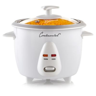 Continental Electrics 6-Cup Rice Cooker with Glass Lid in White
