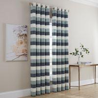Dominic Stripe 63-Inch Grommet Window Curtain Panel in Blue