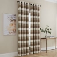 Dominic Stripe 63-Inch Grommet Window Curtain Panel in Linen