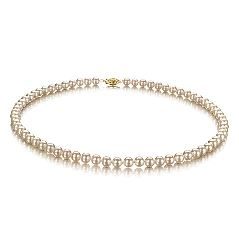 Classic 5.5-6.MM Freshwater Cultured Pearl Necklace w/10K Yellow Gold Clasp in White