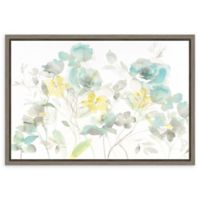 Amanti Art Aqua Roses Shadows 23-Inch x 16-Inch Framed Canvas Wall Art