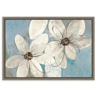 Amanti Art Blue and Neutral Floral 23-Inch x 16-Inch Framed Canvas Wall Art