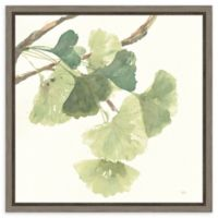 Amanti Art Gingko Leaves I Light 16-Inch Square Framed Canvas Wall Art